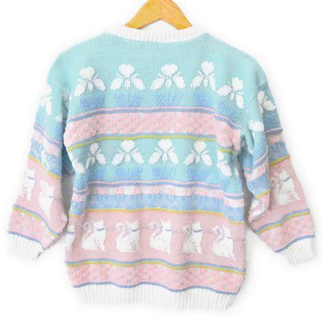 Sale 7365 Sweater Blue Unicorn vintage 80s sparkle cats pastel tacky sweater the