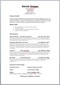 Job Zone Resume by Free Targeted Cv Template Zone Jobfox Uk