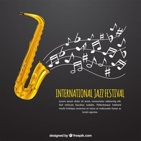 new year song jazz gray saxophone background with musical notes vector free