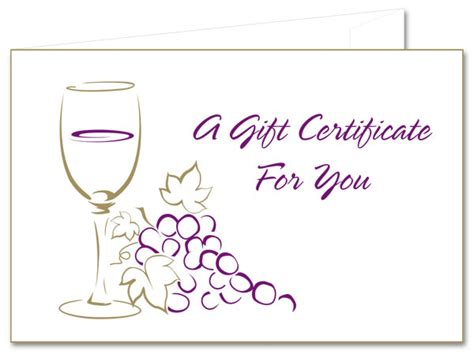 Wine Gift Cards - wine grapes paper gift certificates