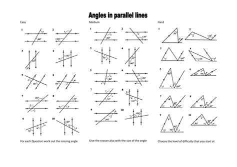 angles between parallel lines worksheet mrobertson1987 profile tes