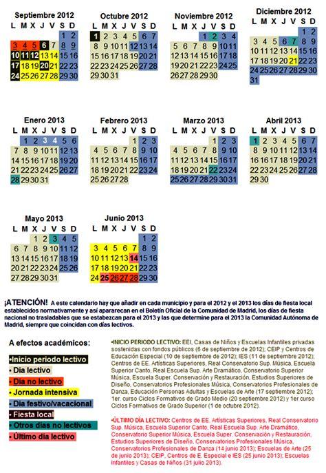 Calendario Escolar Madrid 2013 A Giner De Los R 205 Os Legan 201 S Calendario Escolar 2012