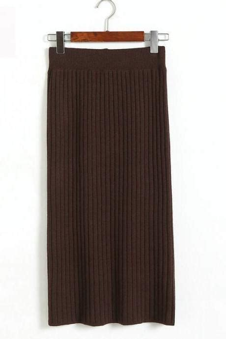 Tie Waist Pleated Plain Midi Skirt stretch high waist skirt plain skater