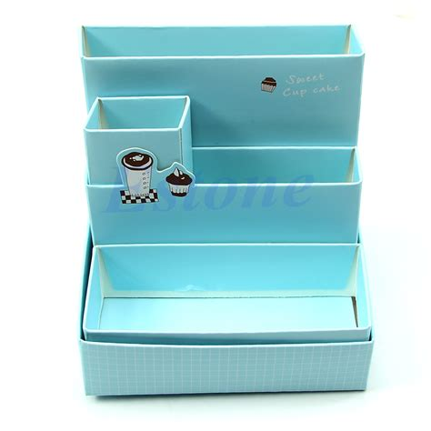 Desk Box Organizer New Diy Paper Board Storage Box Desk Decor Stationery Makeup Cosmetic Organizer Ebay