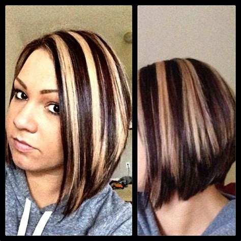 chunking or highlighting short brown hairstyle chunky highlight lowlight hot short hair