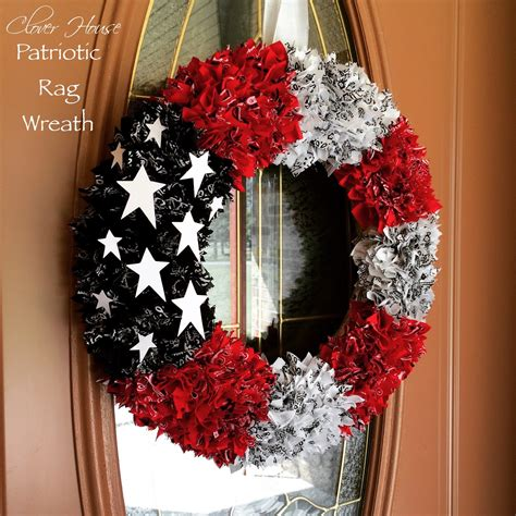 clover house     patriotic rag wreath