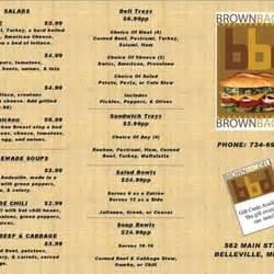 brown deli menu brown bag deli closed delis 562 st belleville mi united states