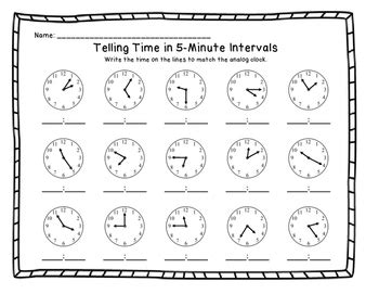 time to 5 minutes worksheet telling time in 5 minute intervals printable worksheets
