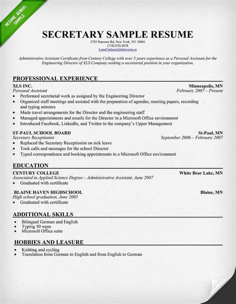 Resume Examples For Secretary secretary resume sample download this sample to use as a