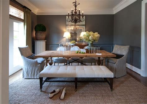 r higgins interiors dining rooms chair rail wainscoting charcoal gray walls trestle