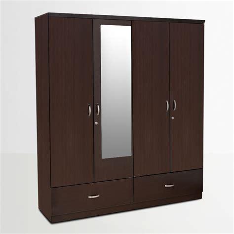 4 door armoire buy utsav four door wardrobe with mirror in wenge finish