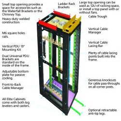 ec42u60100smdsmnk 42u elite cabinet 600wx1000d black box