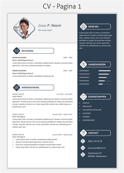 Cv Template Nederlands Cv Template 2017 Om Te Downloaden Cv Templates Downloaden