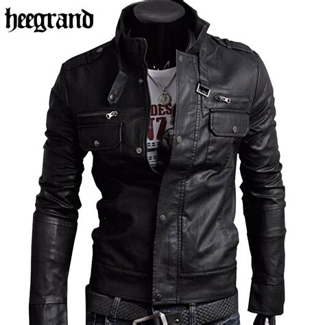 motor leather jacket hee grand 2017 classic style motorcycling pu leather