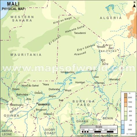 physical map of mali mali physical map physical map of mali