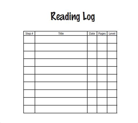 homework reading log template reading log template daily reading log templates reading