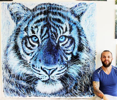 blue animal tattoo vila guilherme tiger splatter painting by dino tomic no 2400