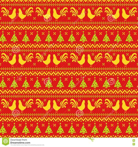 christmas tree new year pattern new year seamless pattern with roosters and christmas