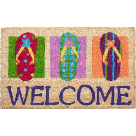 flip flop door mat flip flops welcome coco doormat