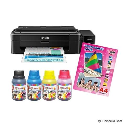 Printer Epson L310 Sun Pigment Pro Ink Bonus Silk Photo Paper A4 Satin jual epson printer l310 sun premium ink nfi printer