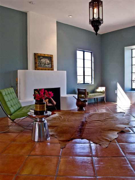 terracotta walls living room how large is the tile is it mexican saltillo or terra cotta wow