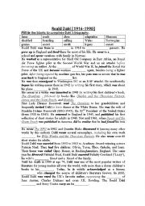 roald dahl biography lesson plan english worksheets roald dahl biography with blanks plus
