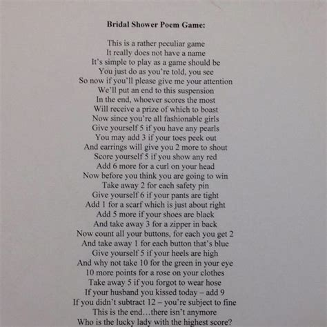 Bridal Shower Poem Game   Bridal shower/bachelorette party ideas   Pinterest   Poem, Bridal and