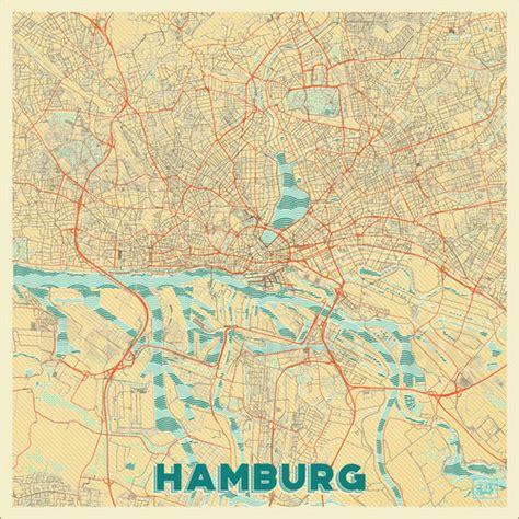 printable map hamburg hubert roguski hamburg germany map retro poster