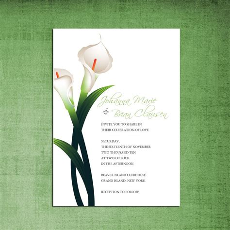 Calla Wedding Invitation by Items Similar To Beautiful Calla Wedding Invitation
