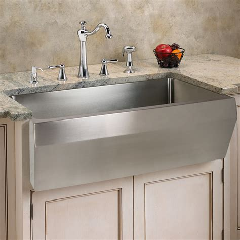 optimum stainless steel farmhouse sink angled front