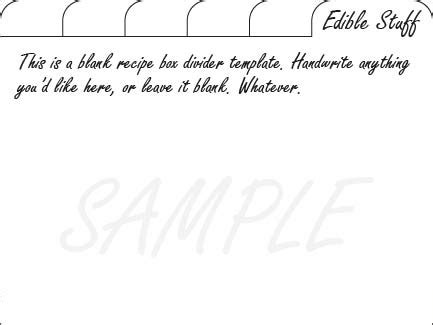 template for recipe card dividers blank recipe card divider templates free printables