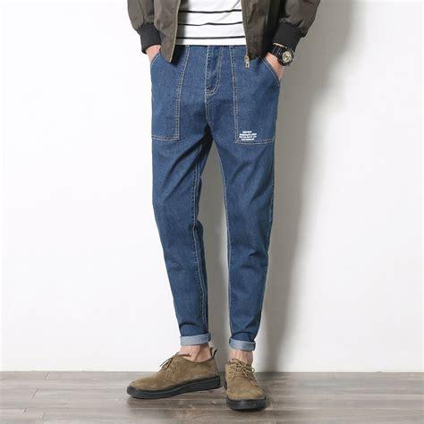 Casual Denim Pant new 2017 fashion mens big pockets blue denim
