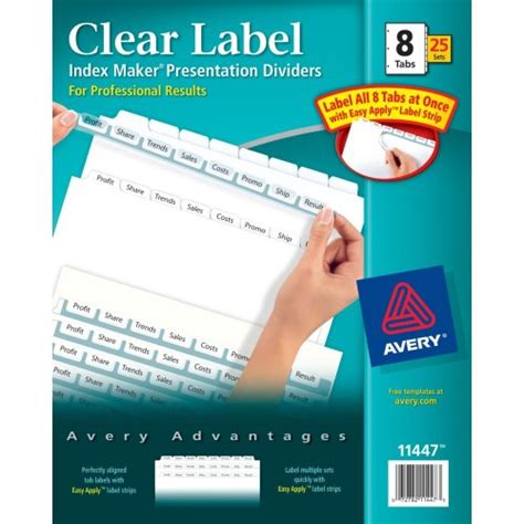 Avery Index Maker Clear Label Dividers Easy Apply Label Strip 5 Tab Multi Color 25 Sets Avery Easy Apply Label Sheet 8 Tab Template