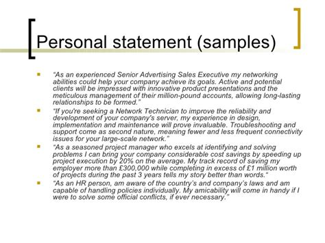 resume personal statement exle