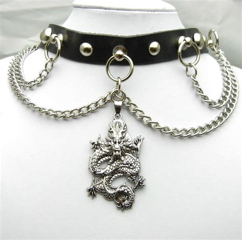 Metal Chain Choker ten422 55mm pendant metal chain leather