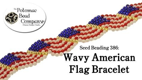 how to american bead seed beading 386 wavy american flag bracelet