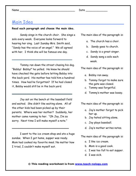 main idea multiple choice quiz worksheets education click to print ell eld pinterest worksheets