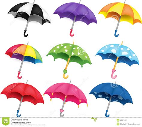 Vector Clip Of A Set Of Different Colored Set Of Umbrellas Stock Vector Image 43579951