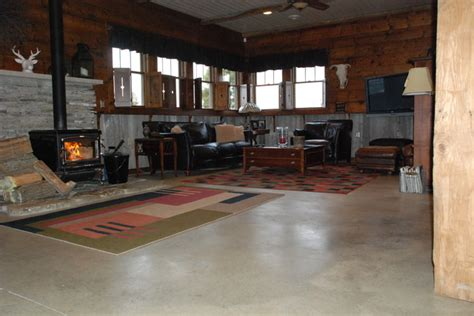 concrete floor in home eclectic living room columbus