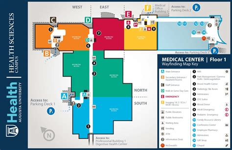 medical center floor plan medical center at augusta university building maps 1st floor