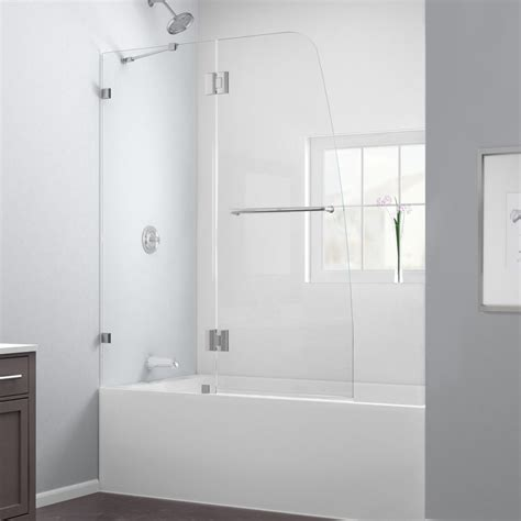 Frameless Shower Doors Reviews Dreamline Aqua 48 Quot X 58 Quot Hinged Frameless Tub Door Reviews Wayfair