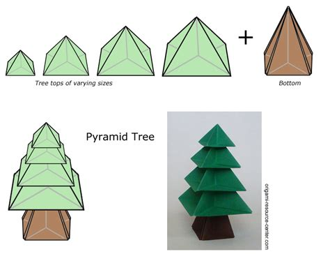 Easy Origami Tree - pyramid tree