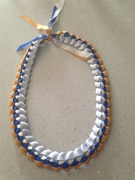 Handmade Leis - graduation gold royal blue white handmade single