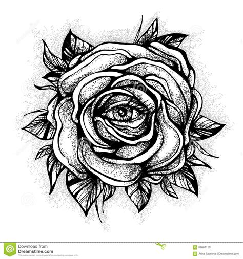 blackwork tattoo flash rose flower highly detailed