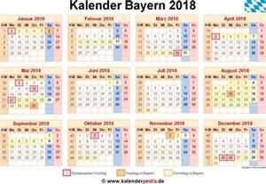 Kalender 2018 Mit Feiertagen Kalender 2018 Bayern Ferien Feiertage Excel Vorlagen