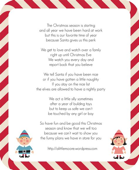 printable elf on the shelf introduction letter from santa elf letter revised a little moore