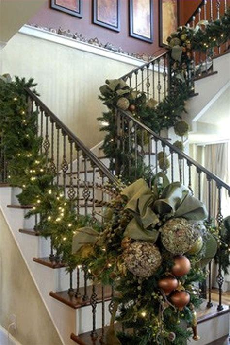 decorate with christmas details the handrail of your staircase