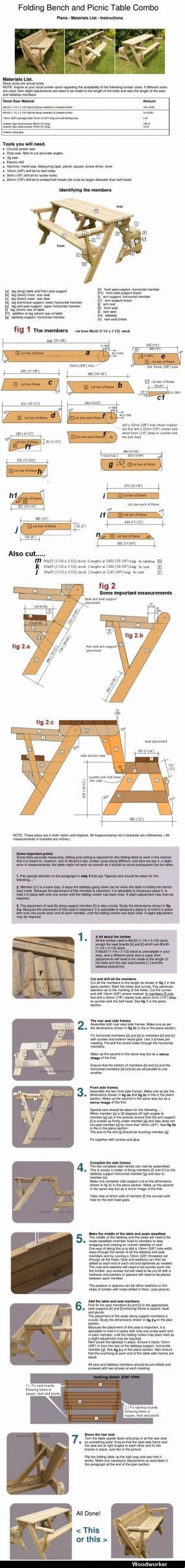 folding bench and picnic table combo free plans folding bench and picnic table combo complete plans