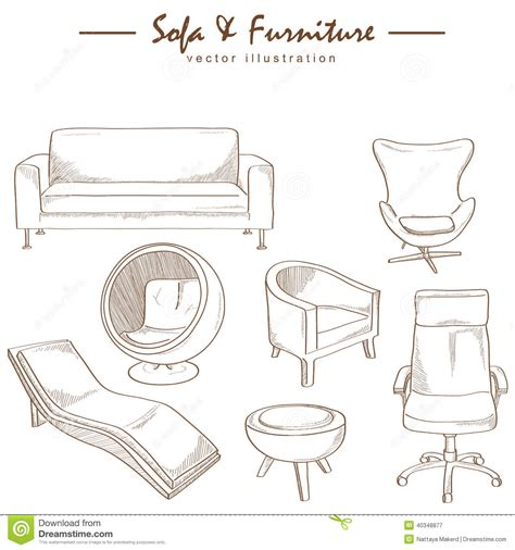 Set Of Sofas Drawings Sketch by Furniture Collection Sketch Drawing Vector Stock Vector