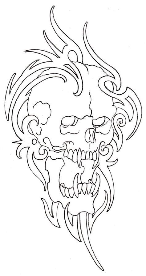 tribal pattern outline tribal skull outline 08 by vikingtattoo on deviantart